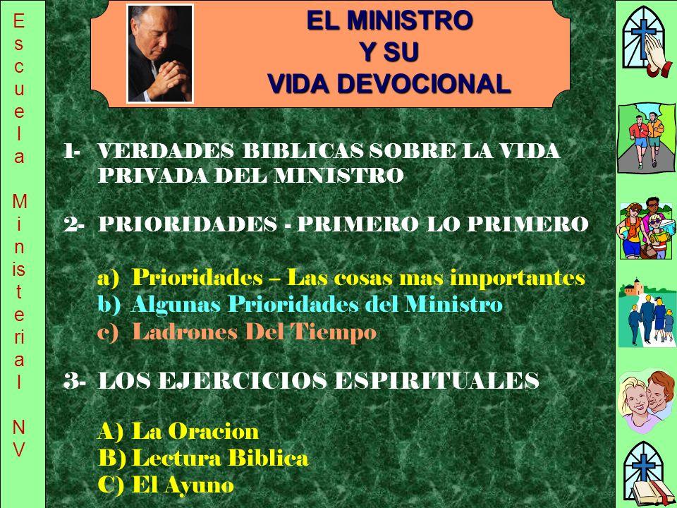 E s c u e l a M i n is t e ri a l N V 1-VERDADES BIBLICAS SOBRE LA VIDA PRIVADA DEL MINISTRO EL MINISTRO Y SU VIDA DEVOCIONAL 3-LOS EJERCICIOS ESPIRIT