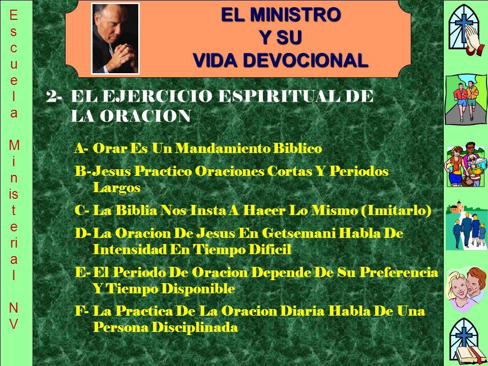E s c u e l a M i n is t e ri a l N V EL MINISTRO Y SU VIDA DEVOCIONAL A-Orar Es Un Mandamiento Biblico B-Jesus Practico Oraciones Cortas Y Periodos L