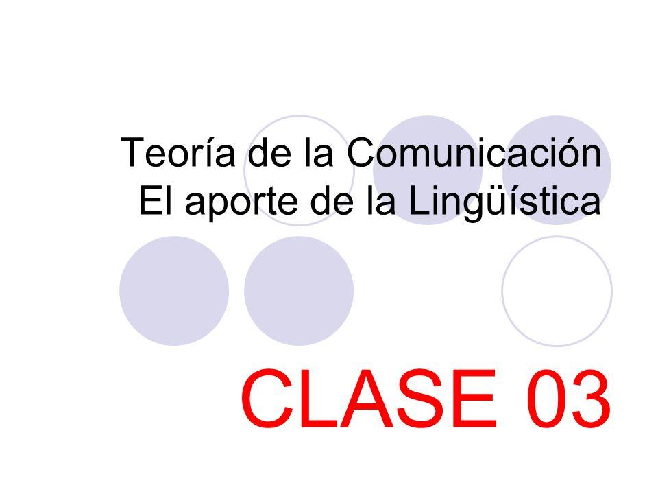 Teoría de la Comunicación El aporte de la Lingüística CLASE 03