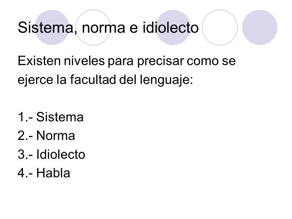 Sistema, norma e idiolecto Existen niveles para precisar como se ejerce la facultad del lenguaje: 1.- Sistema 2.- Norma 3.- Idiolecto 4.- Habla