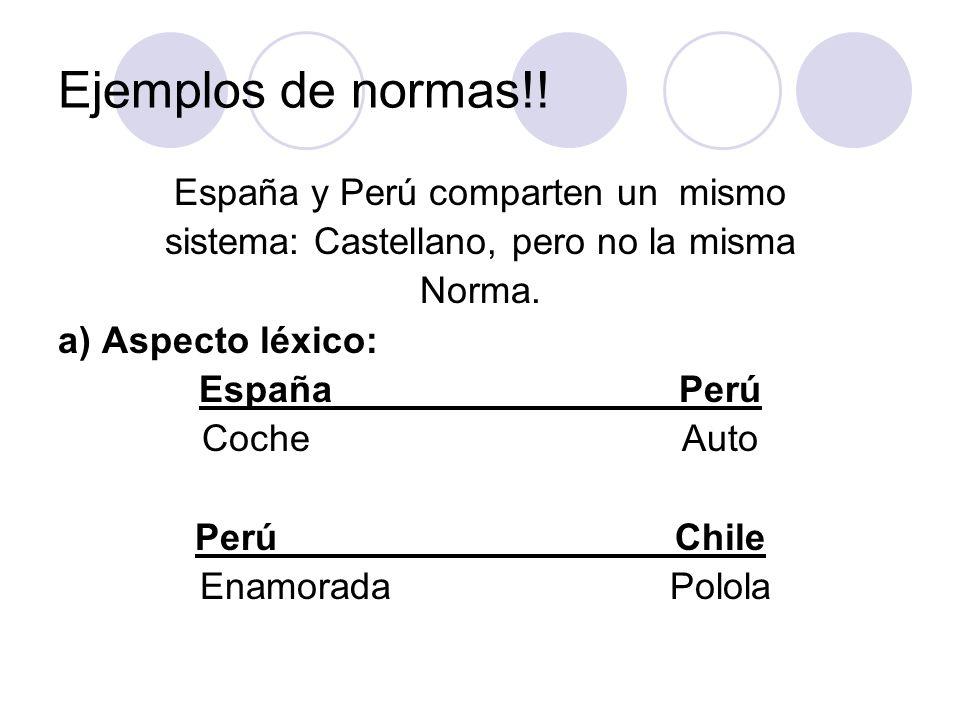 Ejemplos de normas!! España y Perú comparten un mismo sistema: Castellano, pero no la misma Norma. a) Aspecto léxico: EspañaPerú CocheAuto PerúChile E