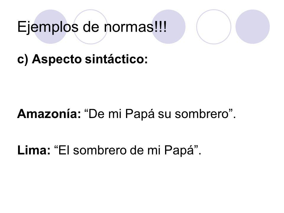 Ejemplos de normas!!! c) Aspecto sintáctico: Amazonía: De mi Papá su sombrero. Lima: El sombrero de mi Papá.