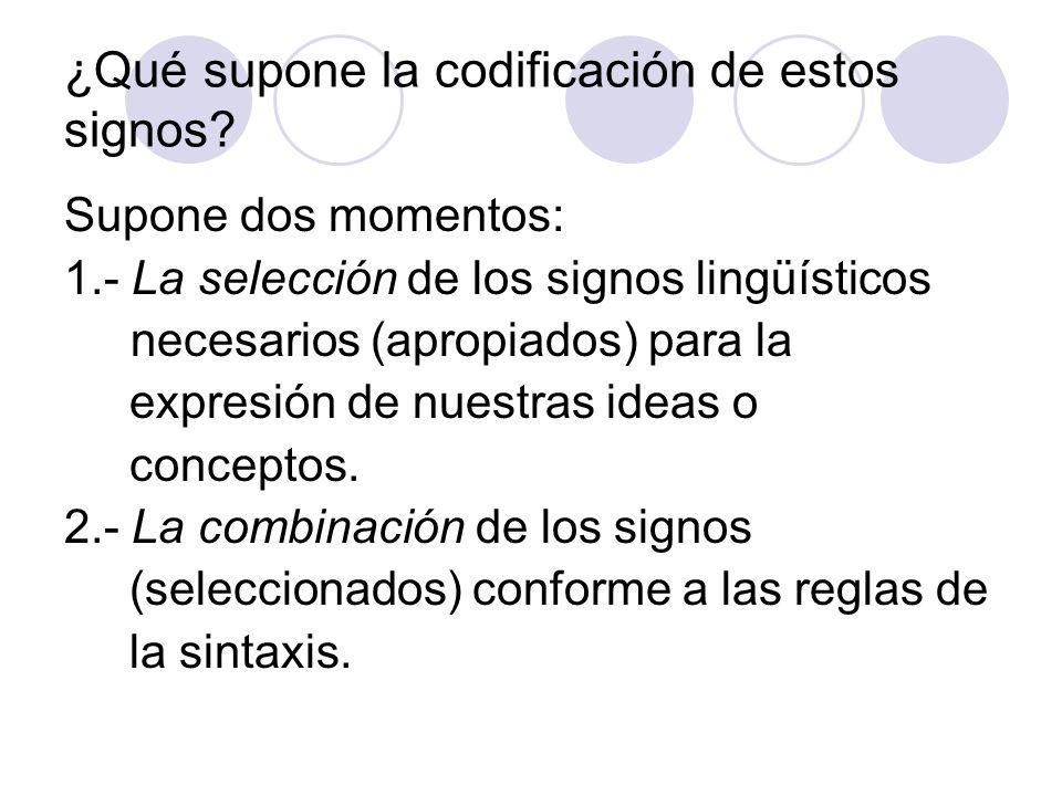 ¿Qué supone la codificación de estos signos? Supone dos momentos: 1.- La selección de los signos lingüísticos necesarios (apropiados) para la expresió