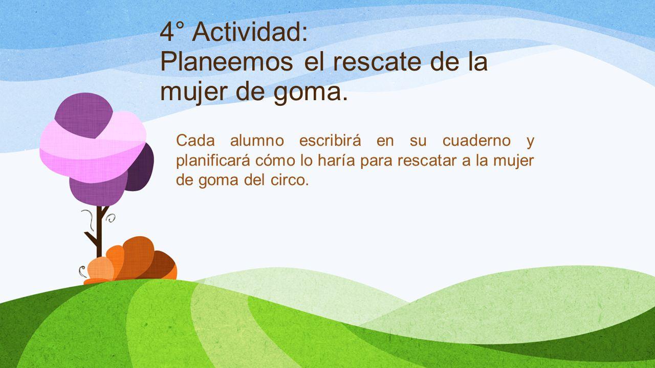 4° Actividad: Planeemos el rescate de la mujer de goma. Cada alumno escribirá en su cuaderno y planificará cómo lo haría para rescatar a la mujer de g