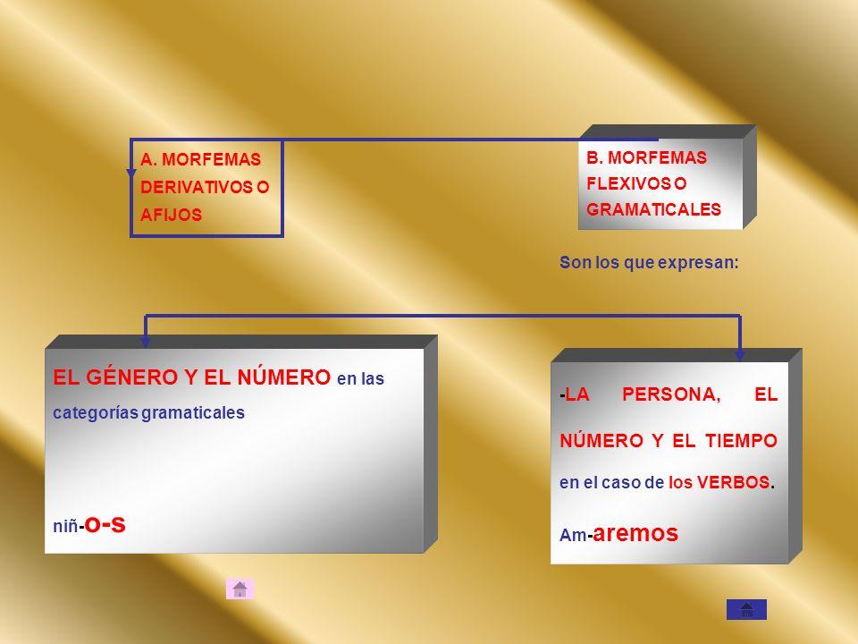 A. MORFEMAS DERIVATIVOS O AFIJOS B. MORFEMAS FLEXIVOS O GRAMATICALES Son los que expresan: EL GÉNERO Y EL NÚMERO en las categorías gramaticales niñ- o
