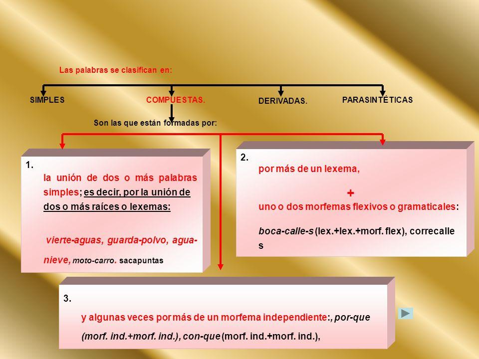 Las palabras se clasifican en: SIMPLESCOMPUESTAS. DERIVADAS. PARASINTÉTICAS 1. la unión de dos o más palabras simples; es decir, por la unión de dos o