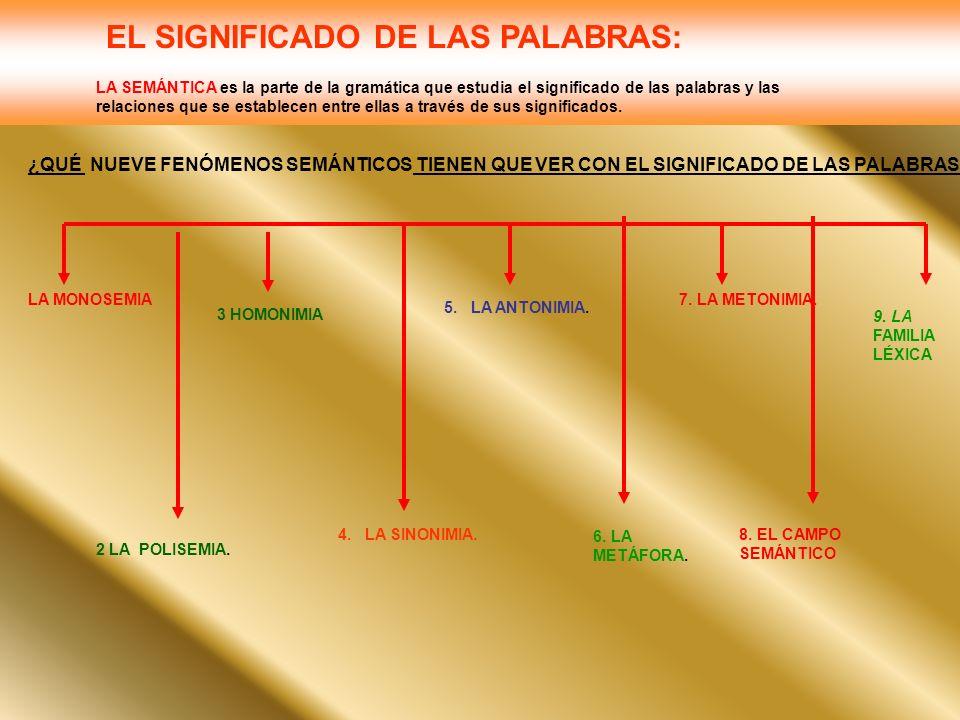 EL SIGNIFICADO DE LAS PALABRAS: LA SEMÁNTICA es la parte de la gramática que estudia el significado de las palabras y las relaciones que se establecen