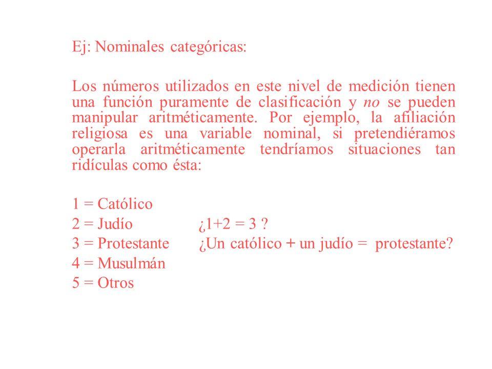 Ej: Nominales categóricas: Los números utilizados en este nivel de medición tienen una función puramente de clasificación y no se pueden manipular ari
