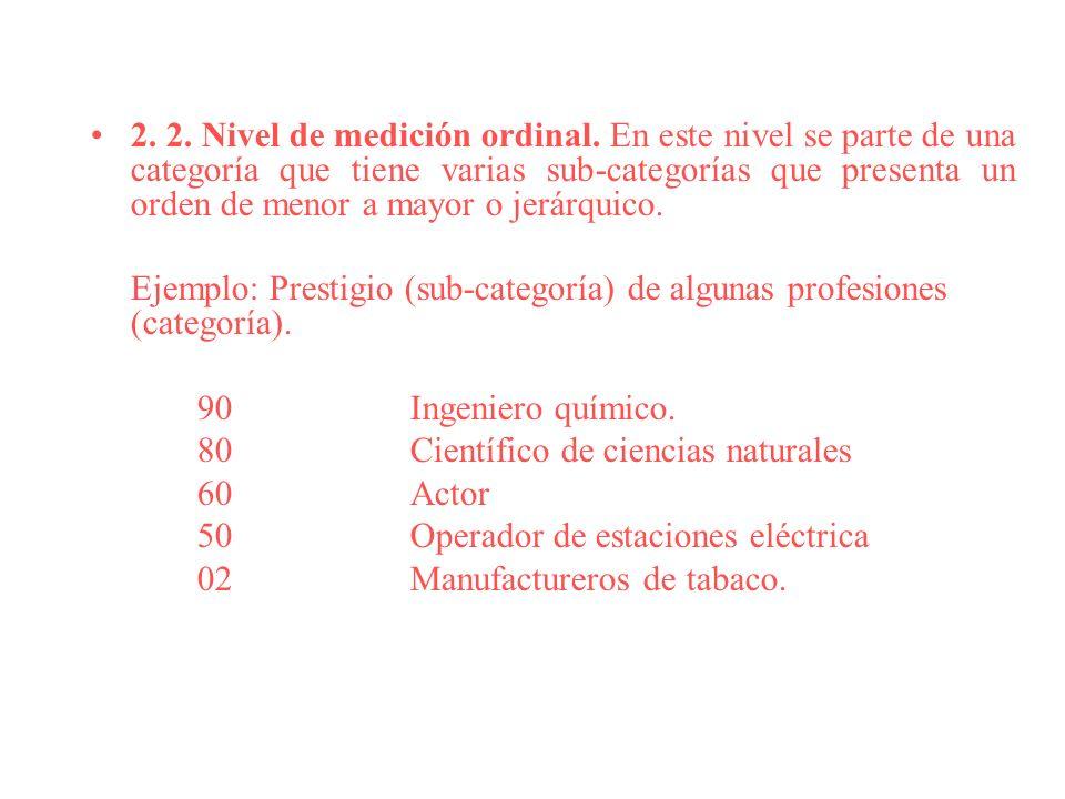 2. 2. Nivel de medición ordinal. En este nivel se parte de una categoría que tiene varias sub-categorías que presenta un orden de menor a mayor o jerá