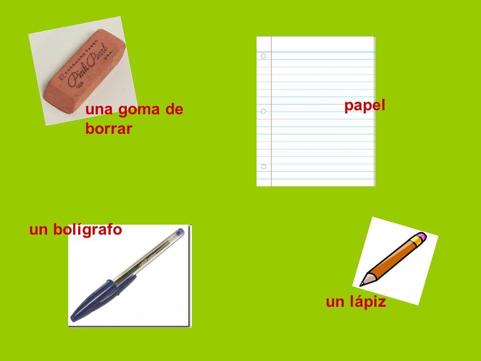 una goma de borrar papel un bolígrafo un lápiz