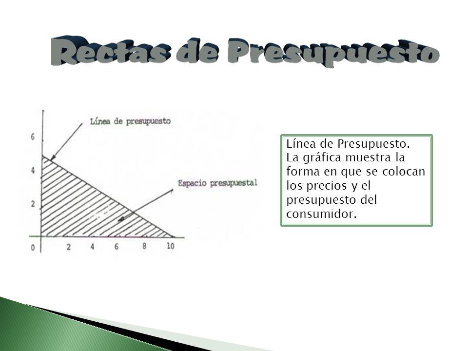 Línea de Presupuesto. La gráfica muestra la forma en que se colocan los precios y el presupuesto del consumidor.