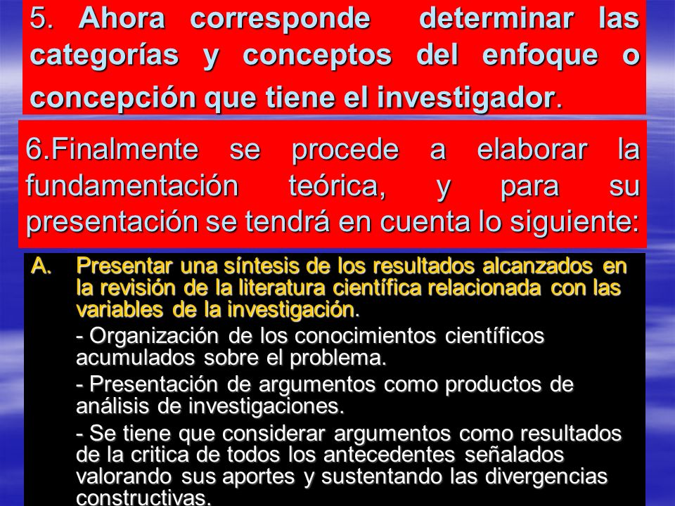 5. Ahora corresponde determinar las categorías y conceptos del enfoque o concepción que tiene el investigador. A.Presentar una síntesis de los resulta