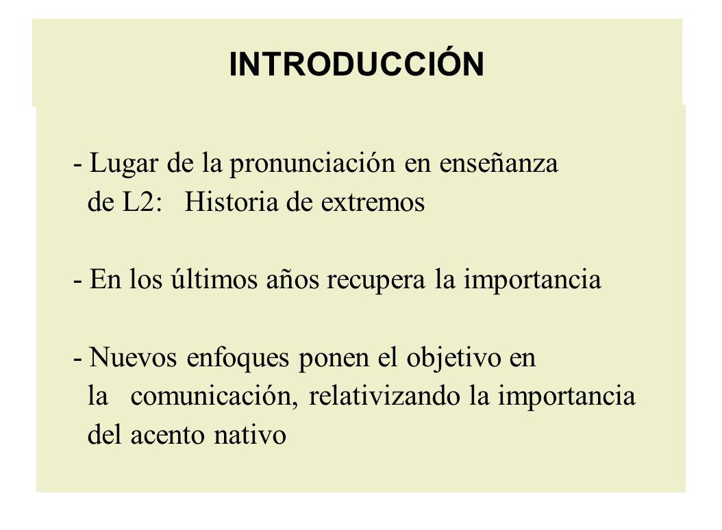 INTRODUCCIÓN - Lugar de la pronunciación en enseñanza de L2: Historia de extremos - En los últimos años recupera la importancia - Nuevos enfoques ponen el objetivo en la comunicación, relativizando la importancia del acento nativo