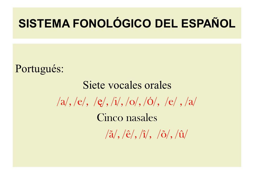 Portugués: Siete vocales orales /a/, /e/, / ę /, /i/, /o/, / Ó /, /e/, /a/ Cinco nasales /ã/, /ê/, /î/, /õ/, /û/