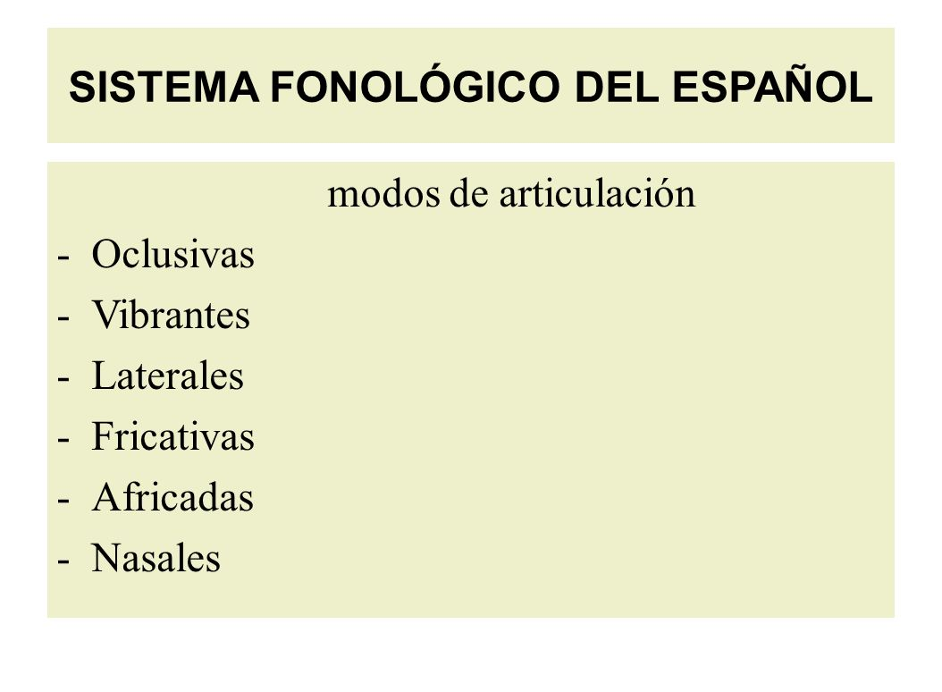 SISTEMA FONOLÓGICO DEL ESPAÑOL modos de articulación -Oclusivas -Vibrantes -Laterales -Fricativas -Africadas - Nasales