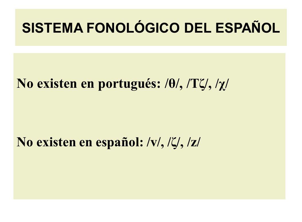 No existen en portugués: /θ/, /Tζ/, /χ/ No existen en español: /v/, /ζ/, /z/