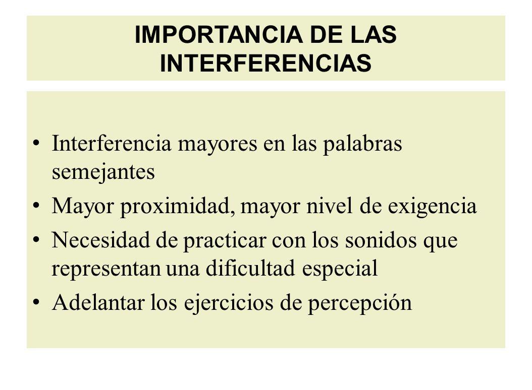 IMPORTANCIA DE LAS INTERFERENCIAS Interferencia mayores en las palabras semejantes Mayor proximidad, mayor nivel de exigencia Necesidad de practicar con los sonidos que representan una dificultad especial Adelantar los ejercicios de percepción