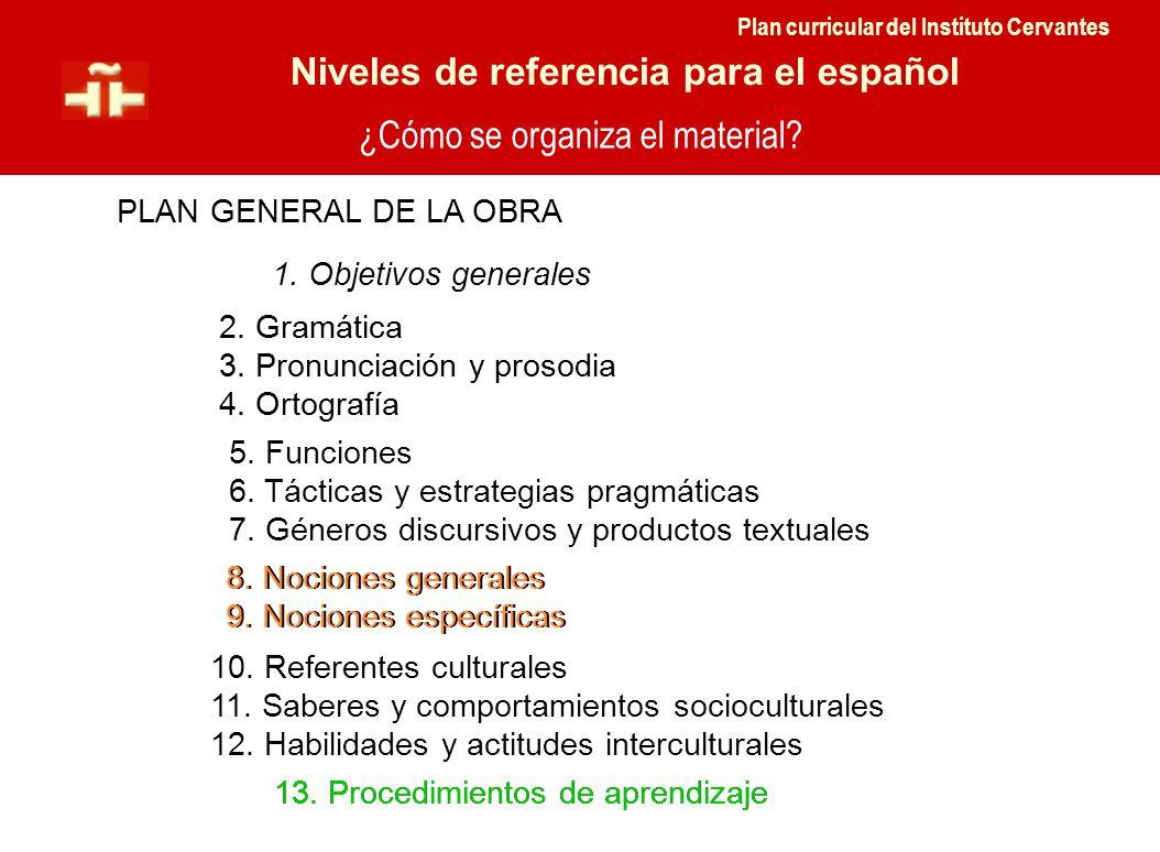¿Cómo se organiza el material. Niveles de referencia para el español PLAN GENERAL DE LA OBRA 5.