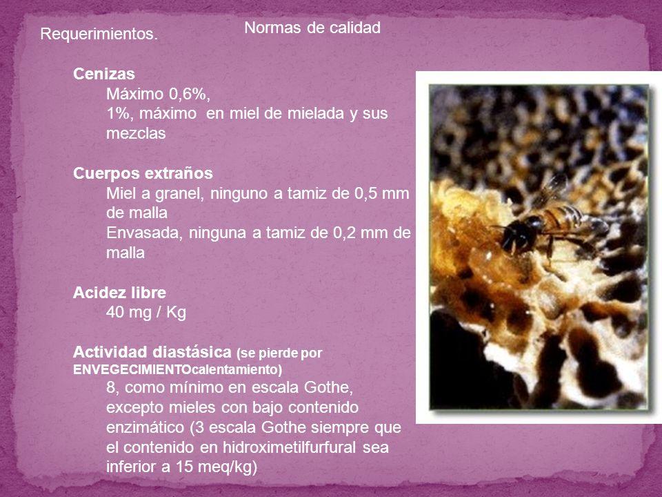 Requerimientos. Cenizas Máximo 0,6%, 1%, máximo en miel de mielada y sus mezclas Cuerpos extraños Miel a granel, ninguno a tamiz de 0,5 mm de malla En