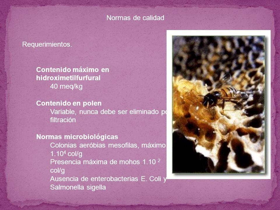 Requerimientos. Contenido máximo en hidroximetilfurfural 40 meq/kg Contenido en polen Variable, nunca debe ser eliminado por filtración Normas microbi