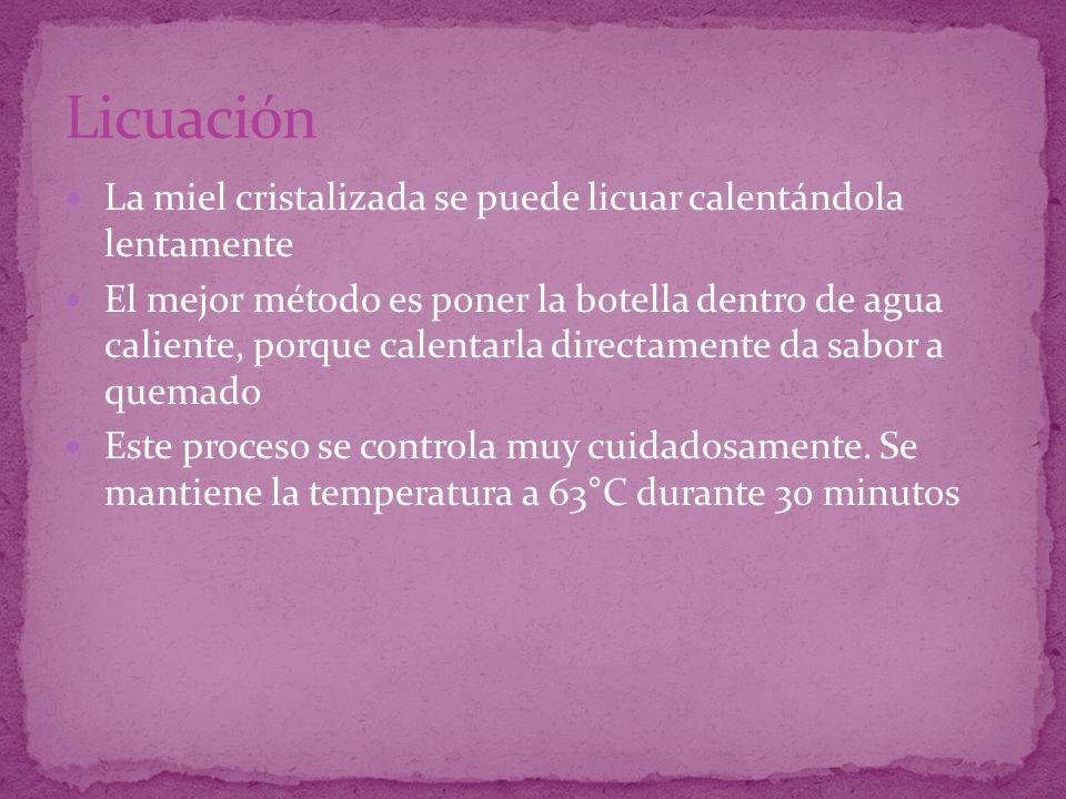 La temperatura de cristalización es 12-16°C Óptima: 14°C A temperatura de 10°C, el proceso es tan lento que se considera nulo La miel no cristaliza Por debajo de 5°C Por encima de 25°C