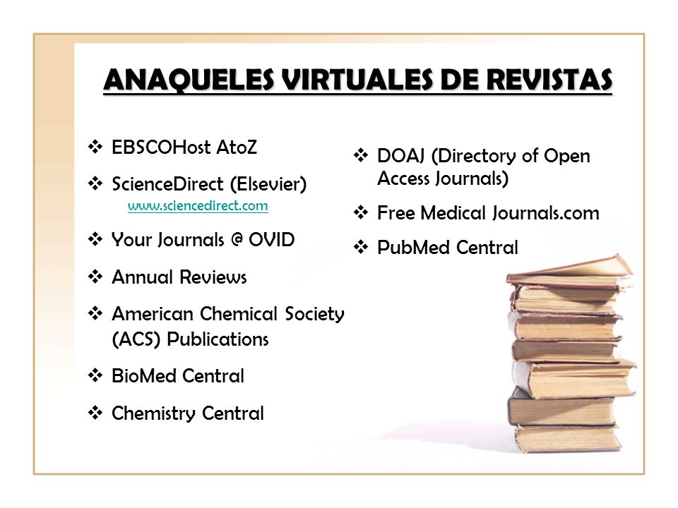 ANAQUELES VIRTUALES DE REVISTAS EBSCOHost AtoZ ScienceDirect (Elsevier) www.sciencedirect.com Your Journals @ OVID Annual Reviews American Chemical So
