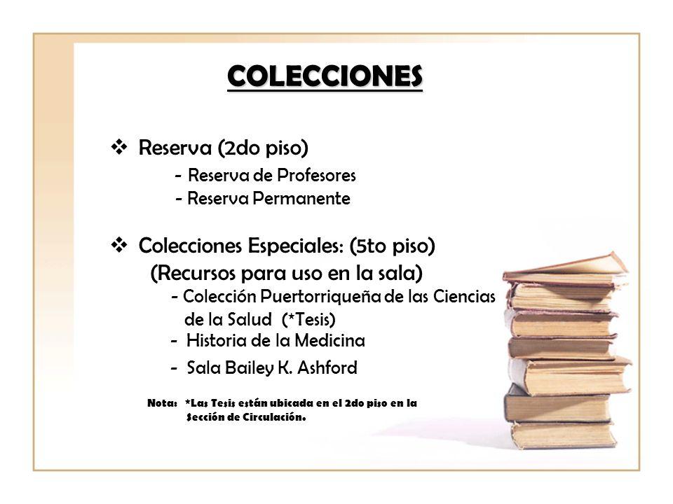 COLECCIONES Reserva (2do piso) - Reserva de Profesores - Reserva Permanente Colecciones Especiales: (5to piso) (Recursos para uso en la sala) - Colecc