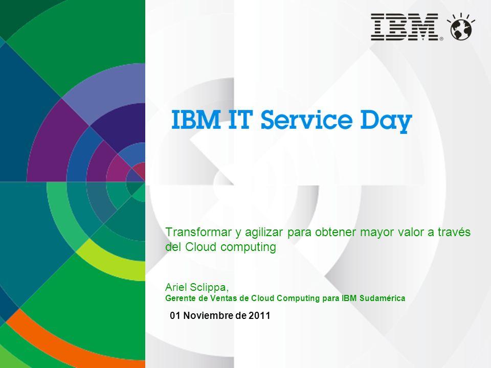 Transformar y agilizar para obtener mayor valor a través del Cloud computing Ariel Sclippa, Gerente de Ventas de Cloud Computing para IBM Sudamérica 0
