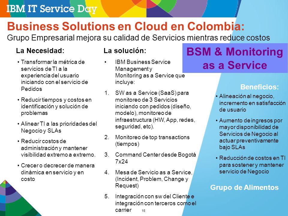 16 Business Solutions en Cloud en Colombia: Grupo Empresarial mejora su calidad de Servicios mientras reduce costos Alineación al negocio, incremento