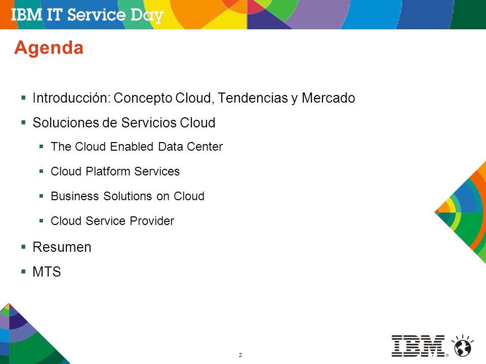 2 Agenda Introducción: Concepto Cloud, Tendencias y Mercado Soluciones de Servicios Cloud The Cloud Enabled Data Center Cloud Platform Services Busine