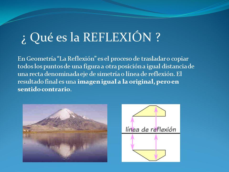 ¿ Qué es la REFLEXIÓN ? En Geometría La Reflexión es el proceso de trasladar o copiar todos los puntos de una figura a otra posición a igual distancia
