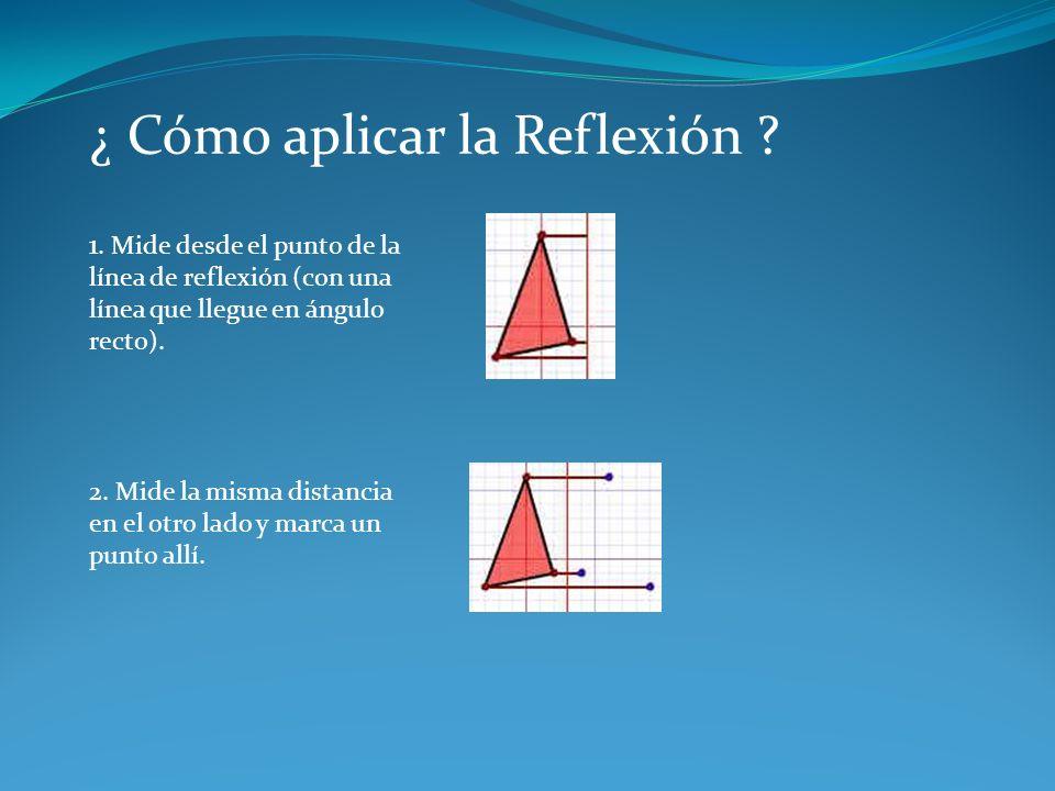 ¿ Cómo aplicar la Reflexión ? 1. Mide desde el punto de la línea de reflexión (con una línea que llegue en ángulo recto). 2. Mide la misma distancia e