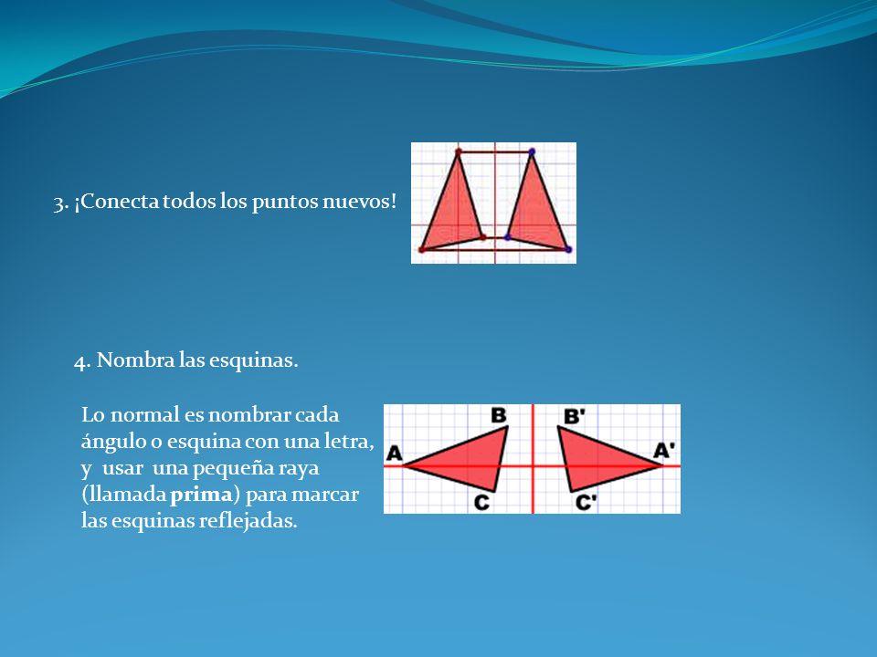 3. ¡Conecta todos los puntos nuevos! 4. Nombra las esquinas. Lo normal es nombrar cada ángulo o esquina con una letra, y usar una pequeña raya (llamad