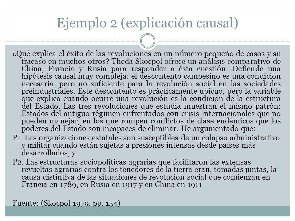Ejemplo 2 (explicación causal) ¿Qué explica el éxito de las revoluciones en un número pequeño de casos y su fracaso en muchos otros? Theda Skocpol ofr