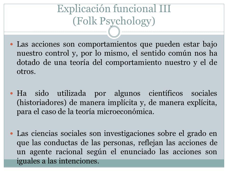 Explicación funcional III (Folk Psychology) Las acciones son comportamientos que pueden estar bajo nuestro control y, por lo mismo, el sentido común n