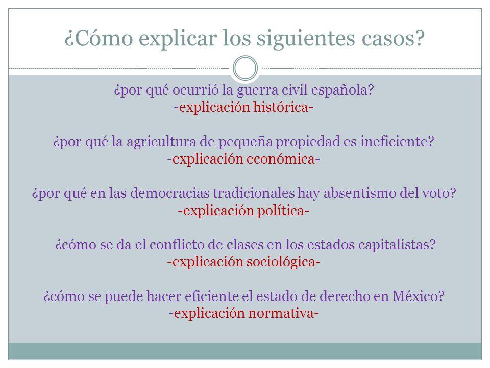 ¿Cómo explicar los siguientes casos? ¿por qué ocurrió la guerra civil española? -explicación histórica- ¿por qué la agricultura de pequeña propiedad e