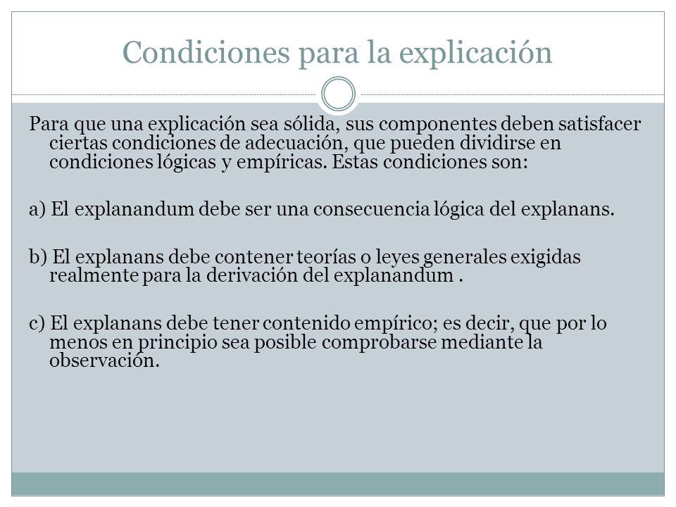 Condiciones para la explicación Para que una explicación sea sólida, sus componentes deben satisfacer ciertas condiciones de adecuación, que pueden di