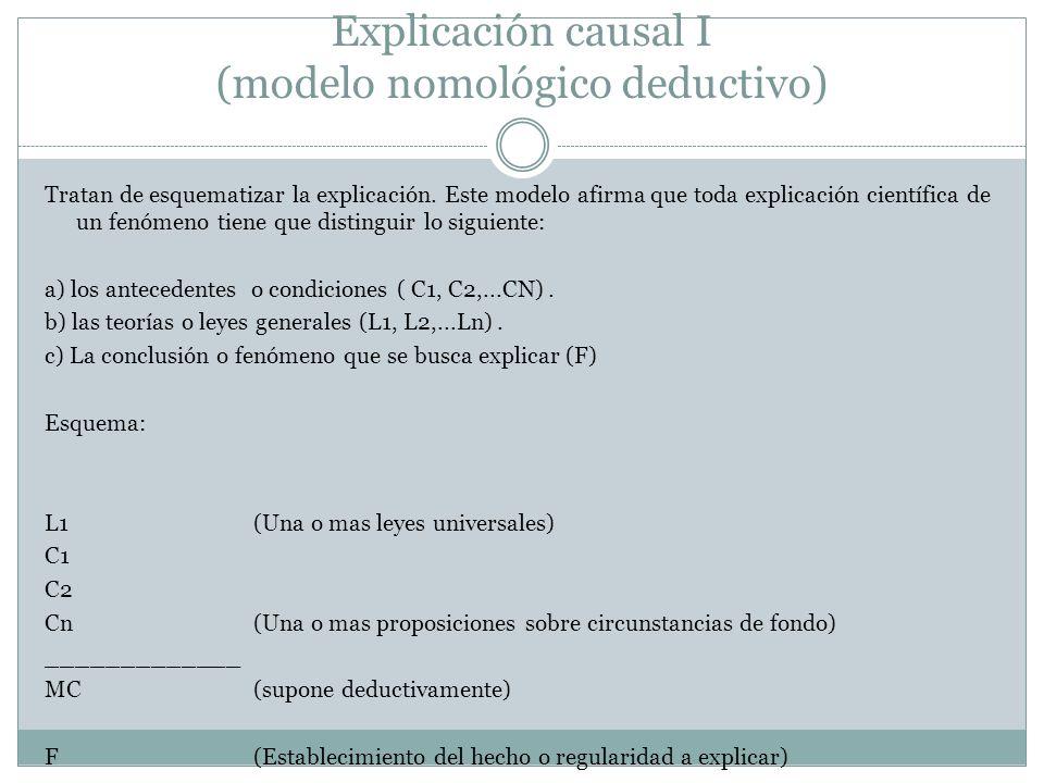 Explicación causal I (modelo nomológico deductivo) Tratan de esquematizar la explicación. Este modelo afirma que toda explicación científica de un fen