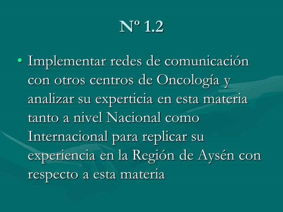 Nº 1.2 Implementar redes de comunicación con otros centros de Oncología y analizar su experticia en esta materia tanto a nivel Nacional como Internaci