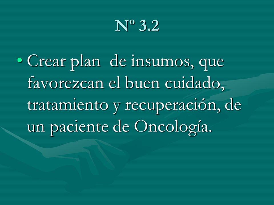 Nº 3.2 Crear plan de insumos, que favorezcan el buen cuidado, tratamiento y recuperación, de un paciente de Oncología.Crear plan de insumos, que favor