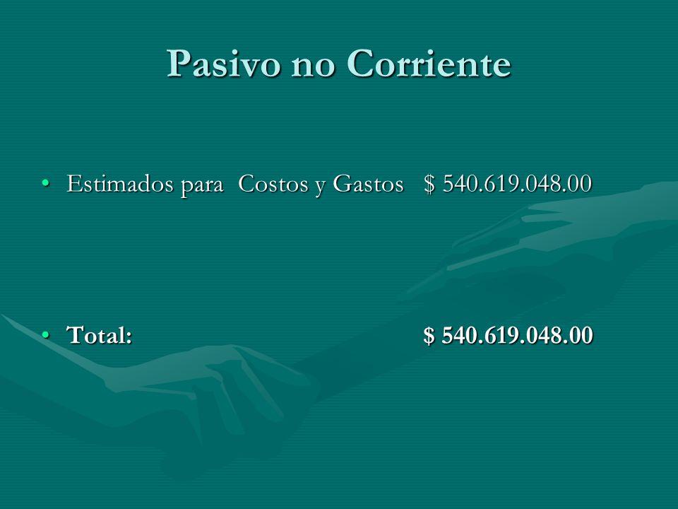 Pasivo no Corriente Estimados para Costos y Gastos $ 540.619.048.00Estimados para Costos y Gastos $ 540.619.048.00 Total: $ 540.619.048.00Total: $ 540