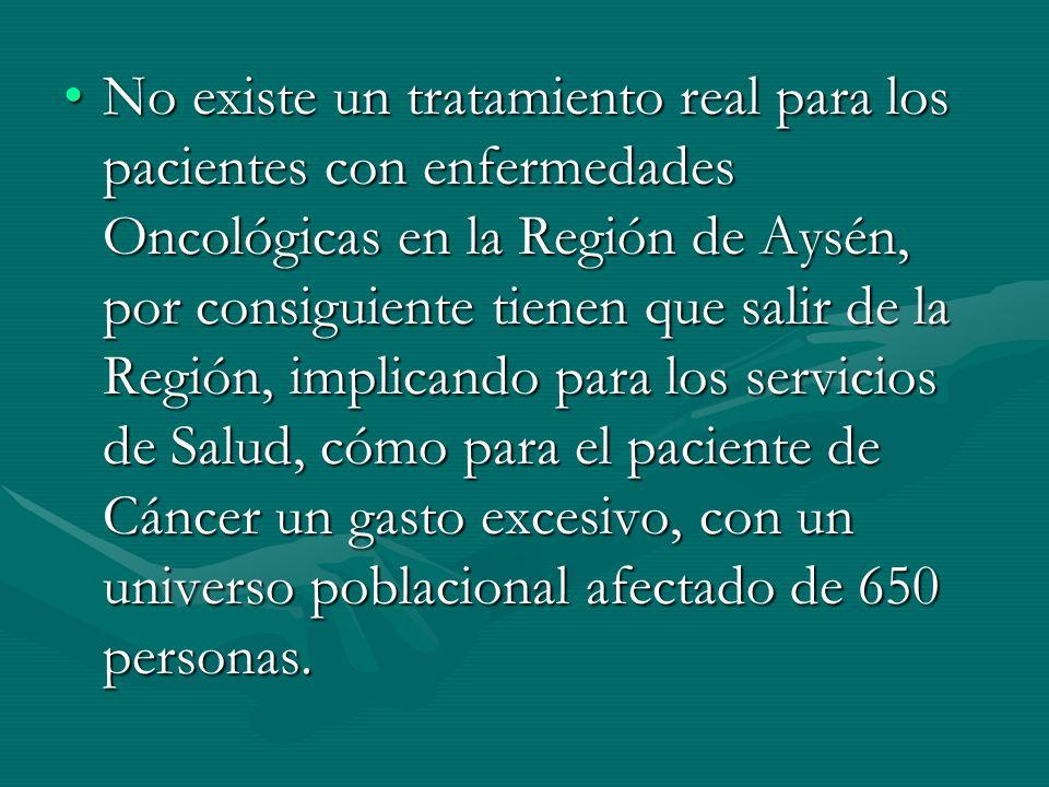 No existe un tratamiento real para los pacientes con enfermedades Oncológicas en la Región de Aysén, por consiguiente tienen que salir de la Región, i