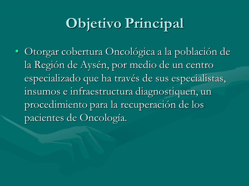 Objetivo Principal Otorgar cobertura Oncológica a la población de la Región de Aysén, por medio de un centro especializado que ha través de sus especi