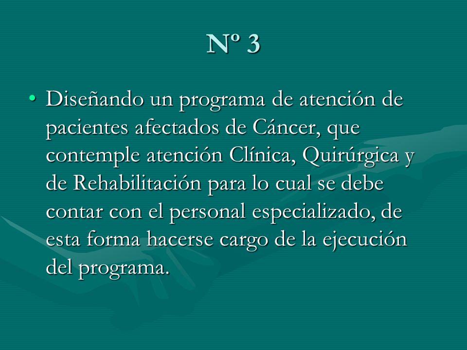 Nº 3 Diseñando un programa de atención de pacientes afectados de Cáncer, que contemple atención Clínica, Quirúrgica y de Rehabilitación para lo cual s