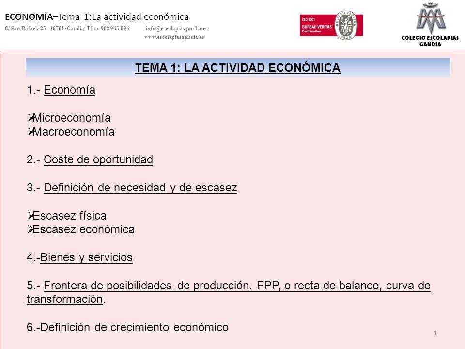 COLEGIO ESCOLAPIAS GANDIA ECONOMÍA–Tema 1:La actividad económica C/ San Rafael, 25 46701-Gandia Tfno. 962 965 096 info@escolapiasgandia.es www.escolap