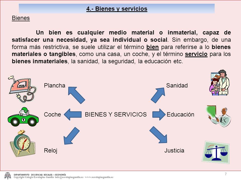 DEPARTAMENTO DE CIENCIAS SOCIALES – ECONOMÍA Copyright Colegio Escolapias Gandia info@escolapiasgandia.es www.escolapiasgandia.es 7 4.- Bienes y servi