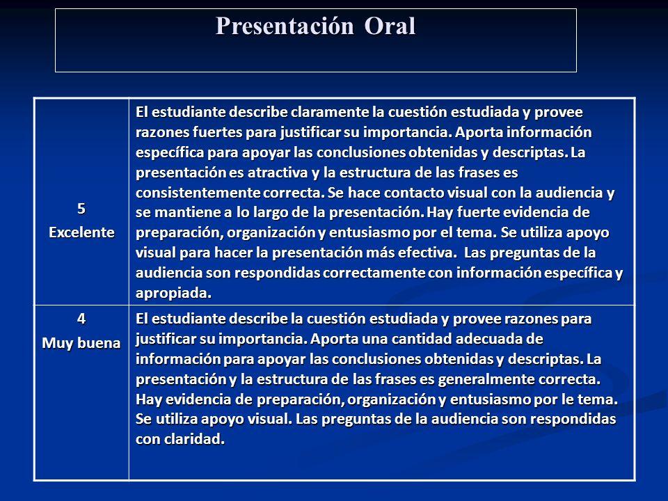 Presentación Oral 5Excelente El estudiante describe claramente la cuestión estudiada y provee razones fuertes para justificar su importancia. Aporta i