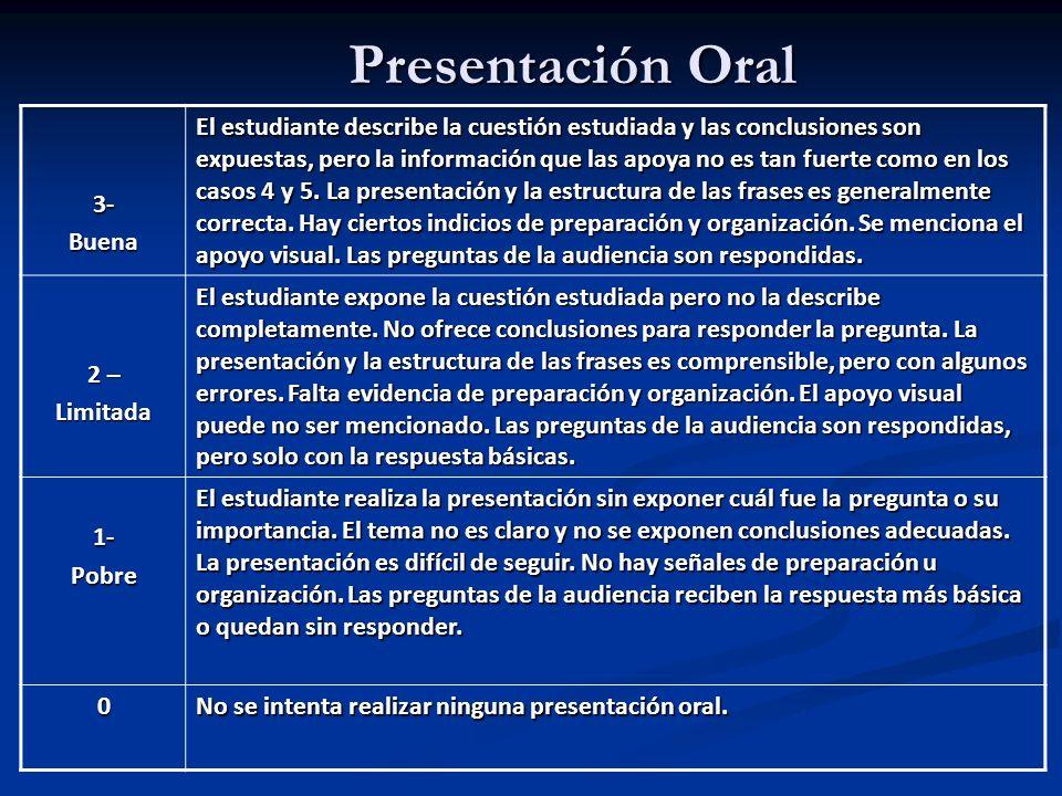 Presentación Oral 3-Buena El estudiante describe la cuestión estudiada y las conclusiones son expuestas, pero la información que las apoya no es tan f