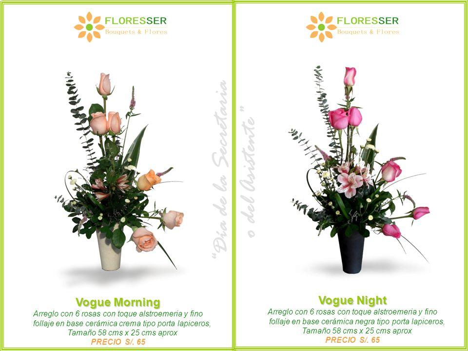 Vogue Morning Arreglo con 6 rosas con toque alstroemeria y fino follaje en base cerámica crema tipo porta lapiceros, Tamaño 58 cms x 25 cms aprox PREC