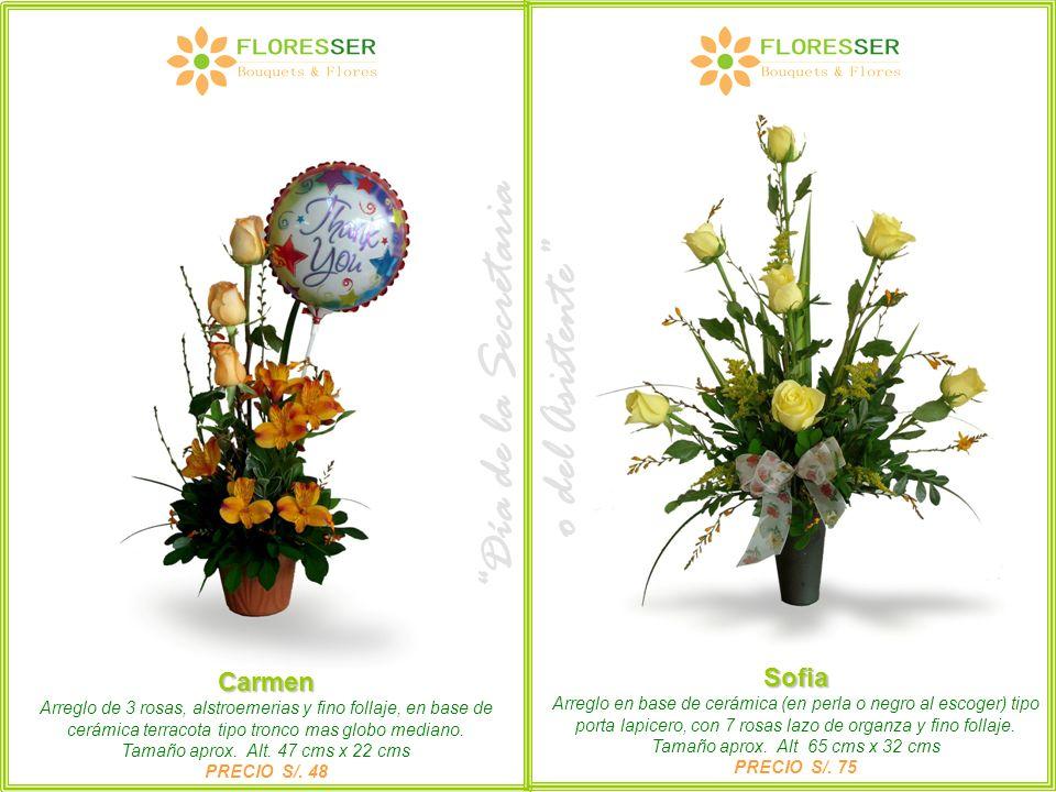 Carmen Arreglo de 3 rosas, alstroemerias y fino follaje, en base de cerámica terracota tipo tronco mas globo mediano. Tamaño aprox. Alt. 47 cms x 22 c